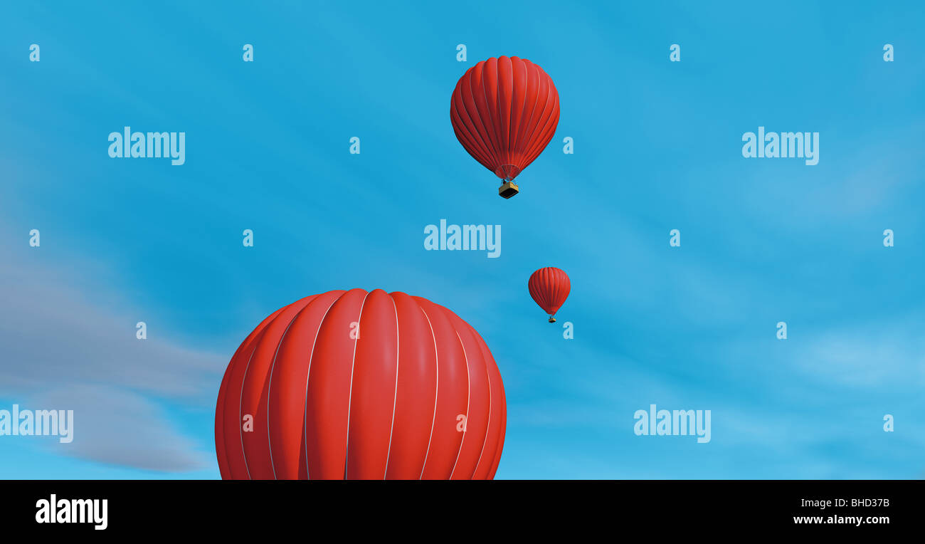 Roten Heißluftballons in den blauen Himmel - Rote Heissluftballons bin Blauen Himmel Stockbild