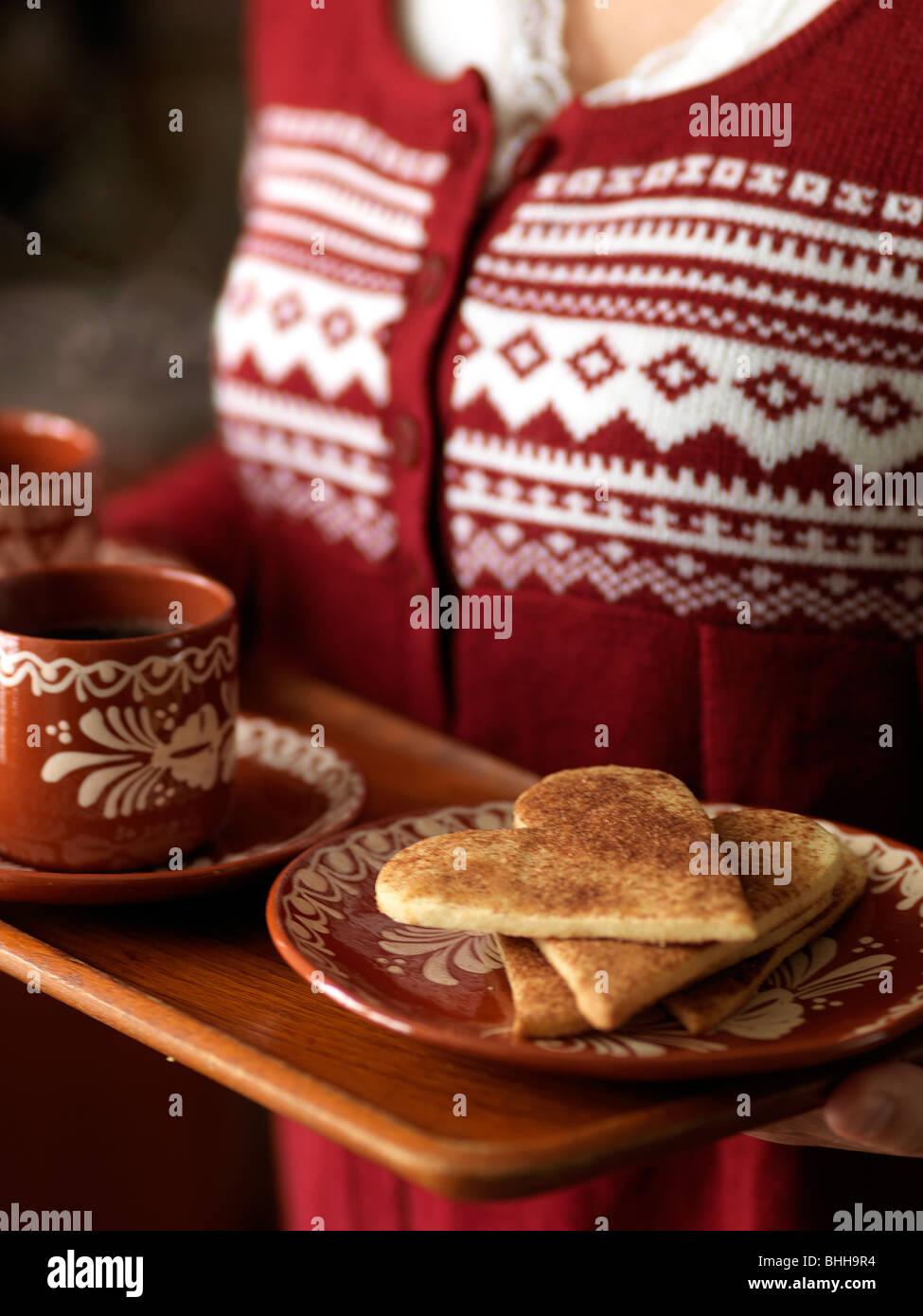 Zimt-Cookies, Schweden. Stockbild