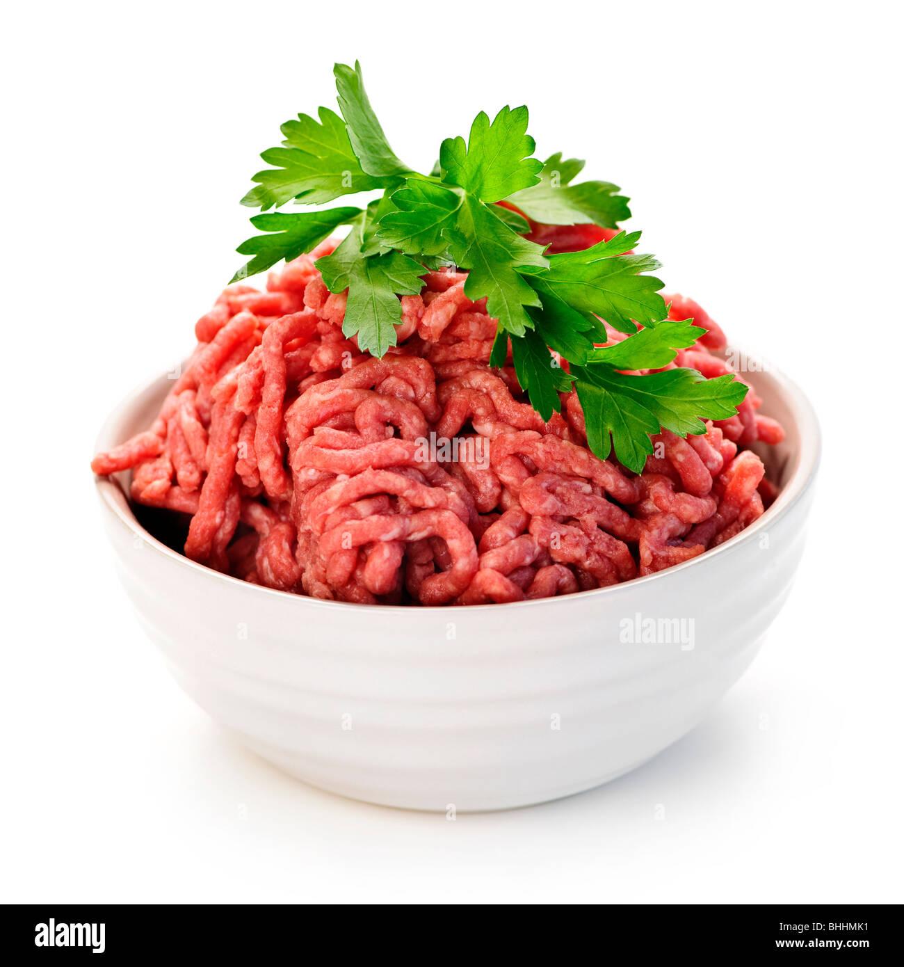 Hautnah auf isolierte Schüssel rohes mageres rotes Fleisch Stockbild