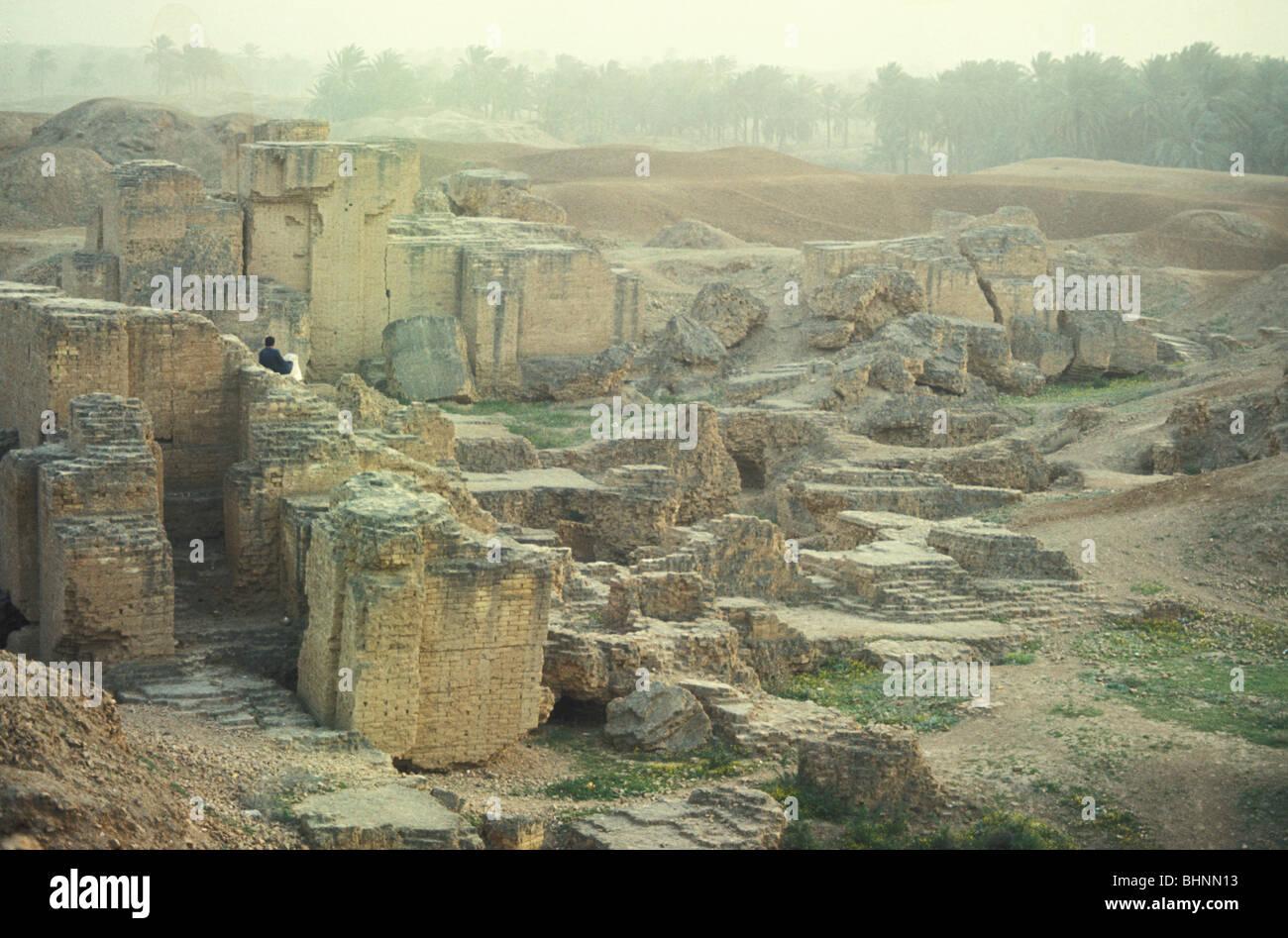 Alte Schlamm Ziegel Ruinen von Babylon Mesopotamien Hilla Irak Stockbild