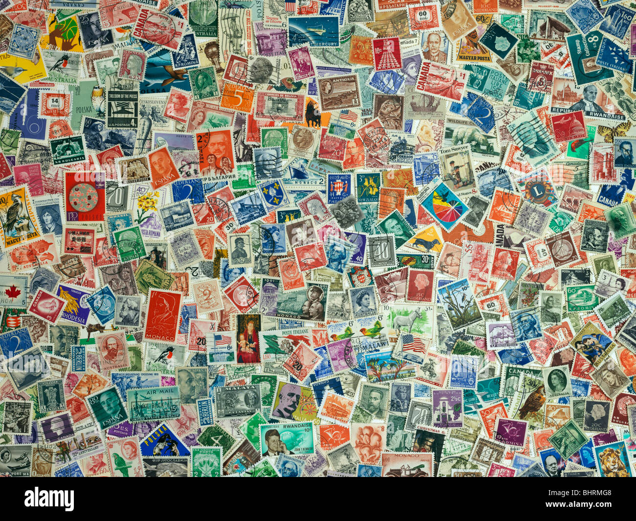 Internationale Briefmarken der Welt, Still Life Kollektion Stockbild