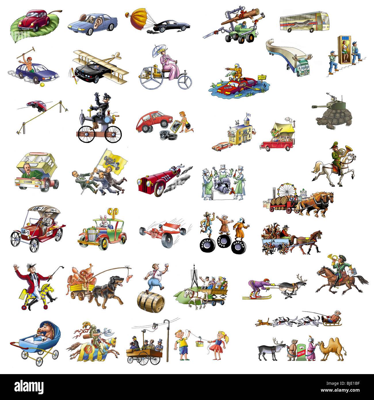 Hand-Cartoons über die verschiedenen transport_2 Stockbild