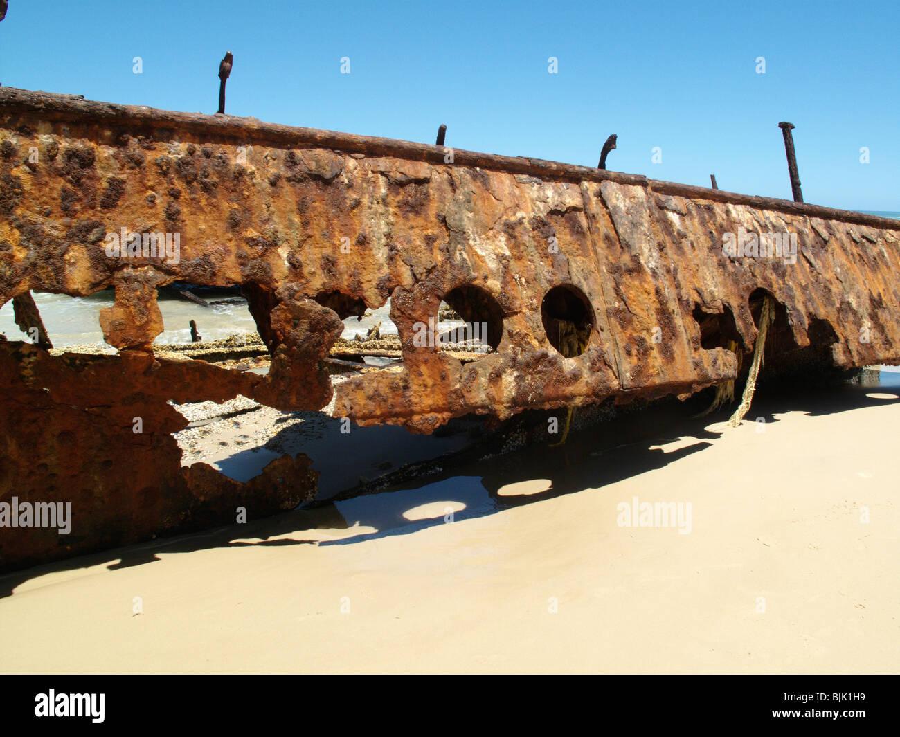 Das Wrack der SS Maheno Schiff auf Fraser Island in Australien Stockfoto