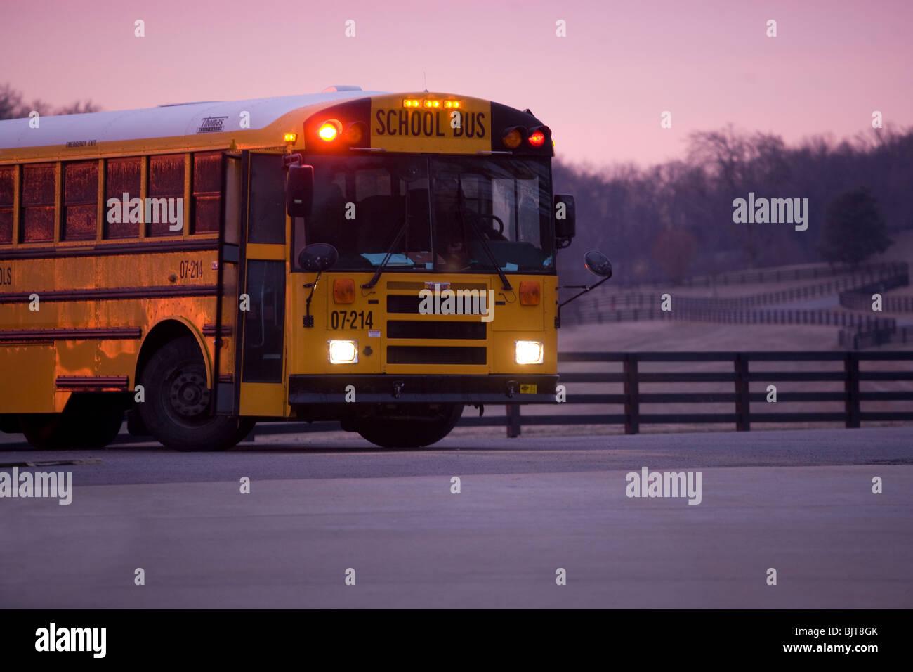 Schulbus in den frühen Morgenstunden einen Halt zu holen, Studenten, Franklin, Tennessee Stockbild