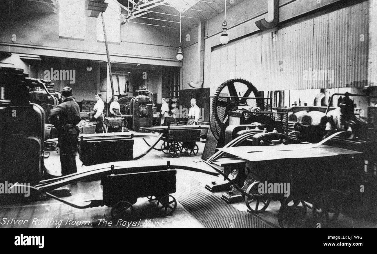 Die rollende Silberkammer, die Royal Mint, Tower Hill, London, Anfang des 20. Jahrhunderts. Stockfoto