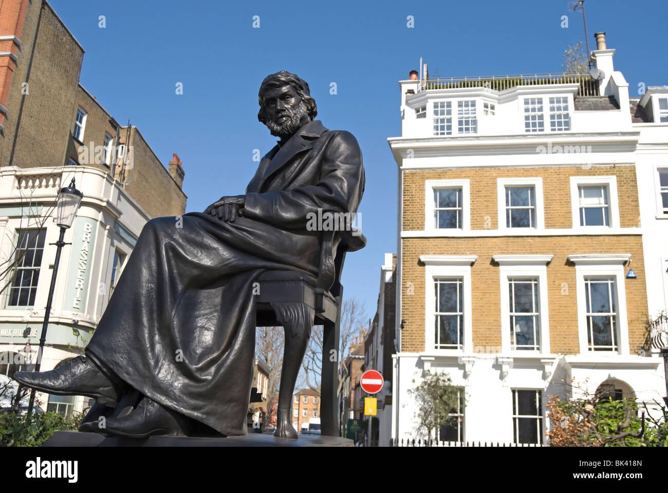 Joseph Böhm Statue der schottische Historiker und Essayist Thomas Carlyle, im Cheyne Weg, Chelsea, London, Stockbild