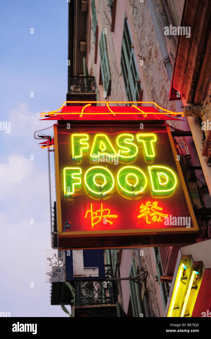 Europa Frankreich Nizza Cote d ' Azur Provence Leuchtreklame für Fast-Food-chinesische Küche Stockbild
