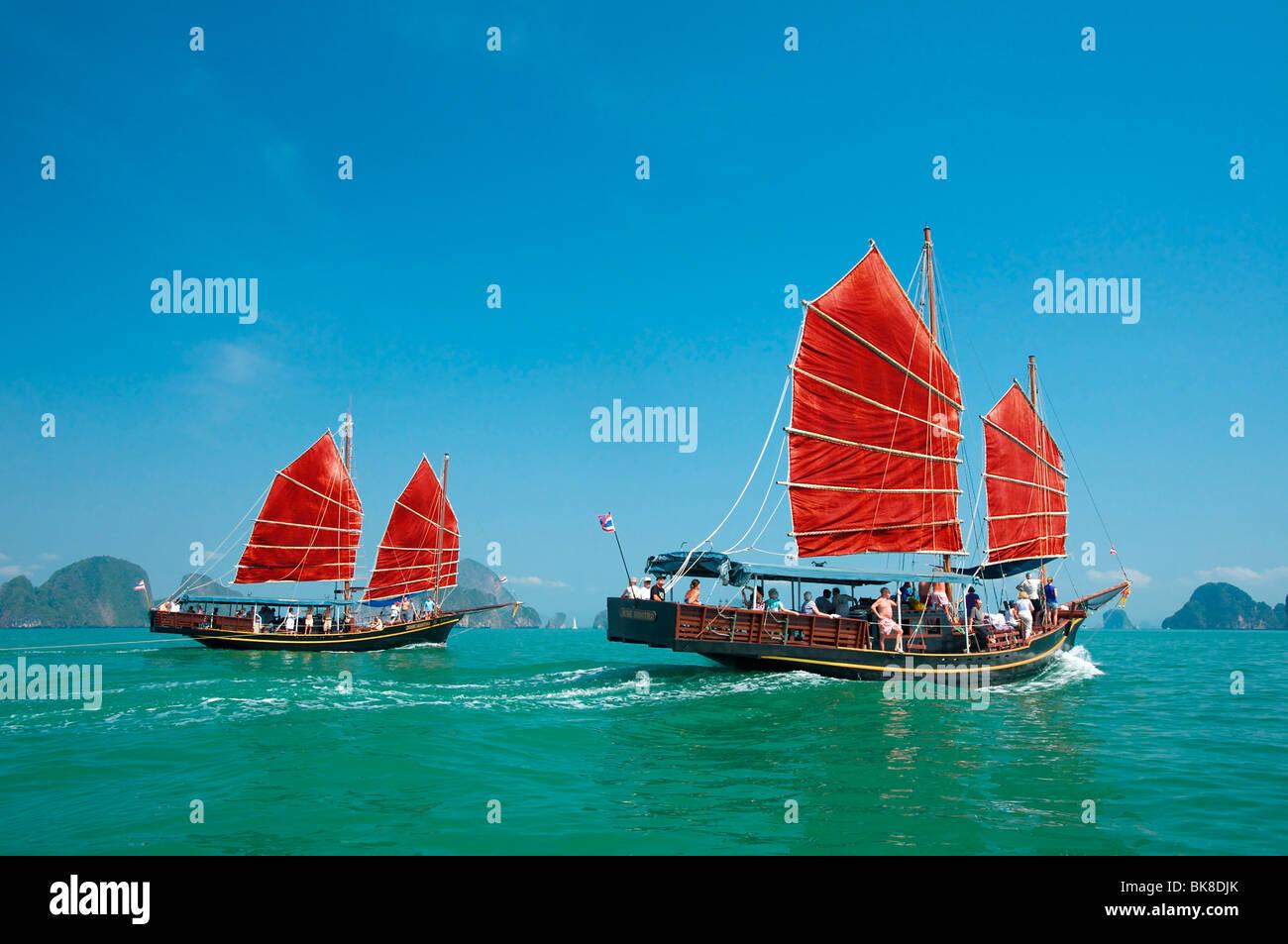 Dschunken in Phang Nga Bay, Phuket, Thailand, Asien Stockbild