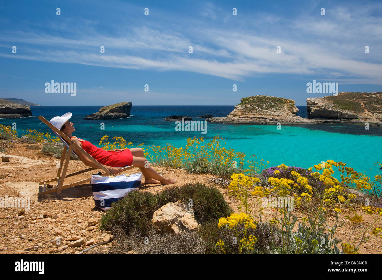 Blaue Lagune von Comino, Malta, Europa Stockbild