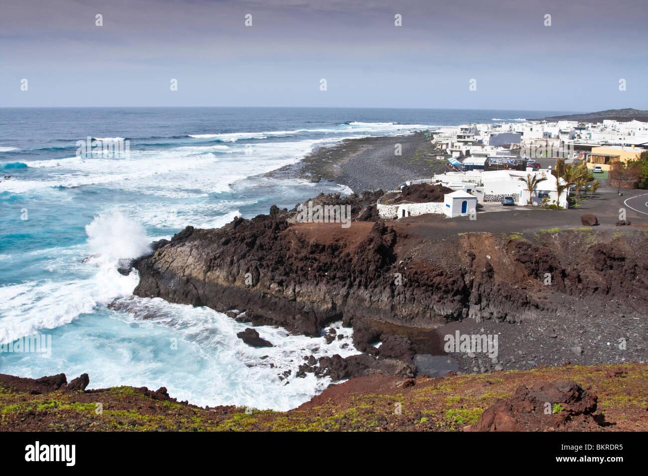 Überblick über el Golfo Dorf Lanzarote Spanien Stockbild