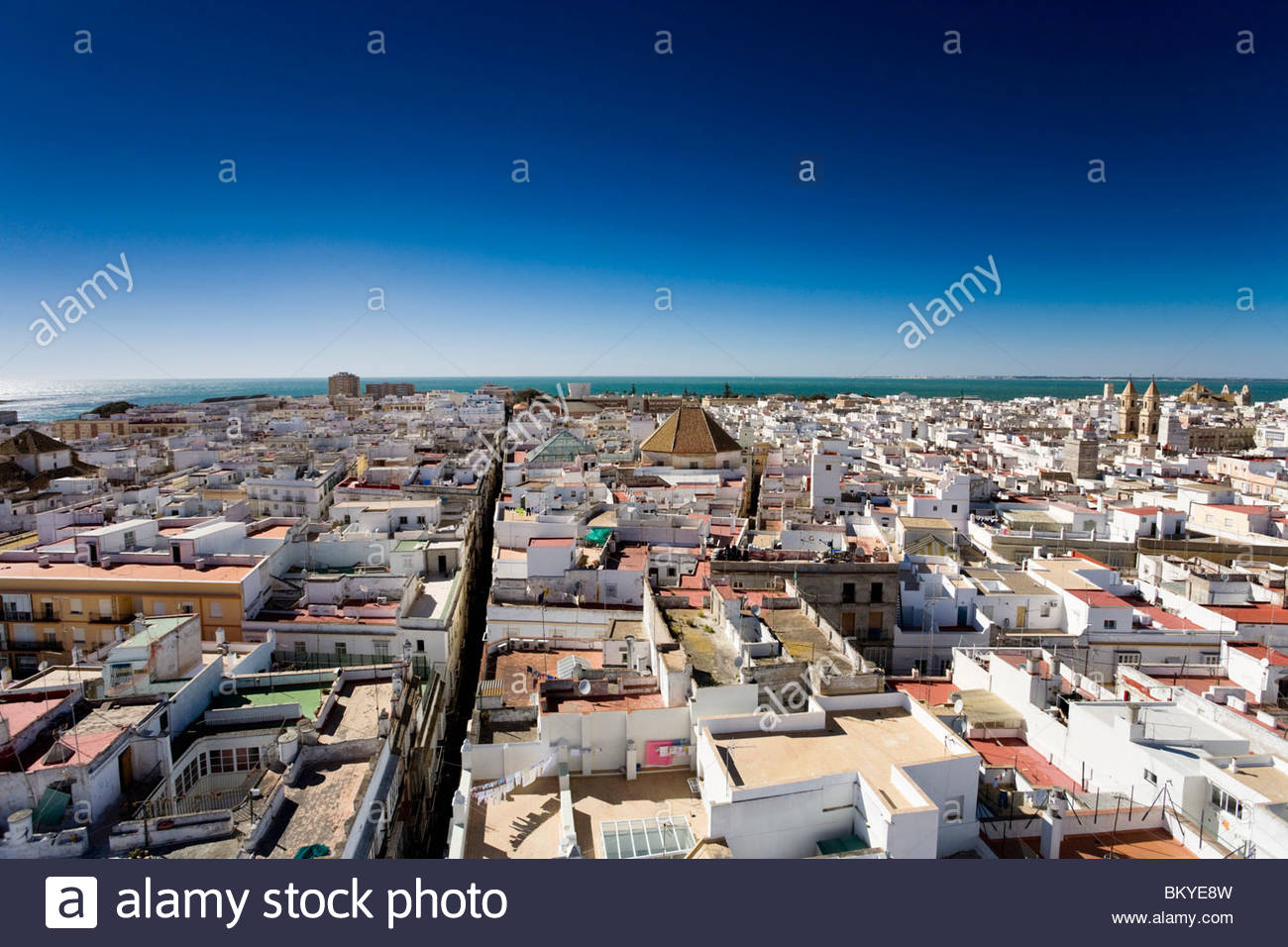 Blick über die Stadt Cadiz aus der Torre Tavira, Cadiz, Provinz Cadiz, Andalusien, Spanien Stockbild