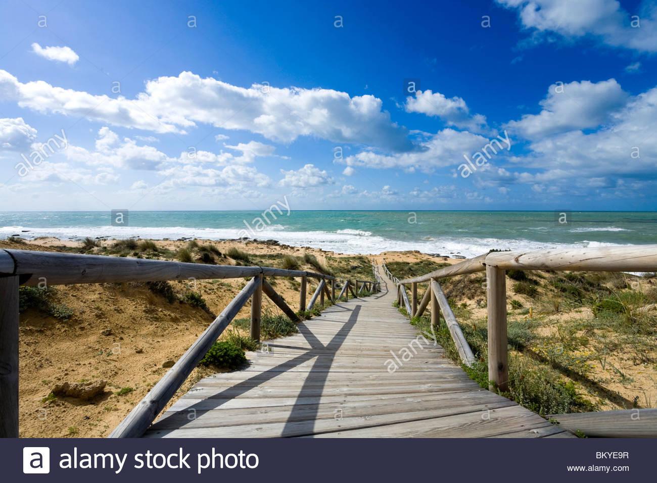 Strand von Cabo de Trafalgar, Provinz Cadiz, Andalusien, Spanien Stockbild
