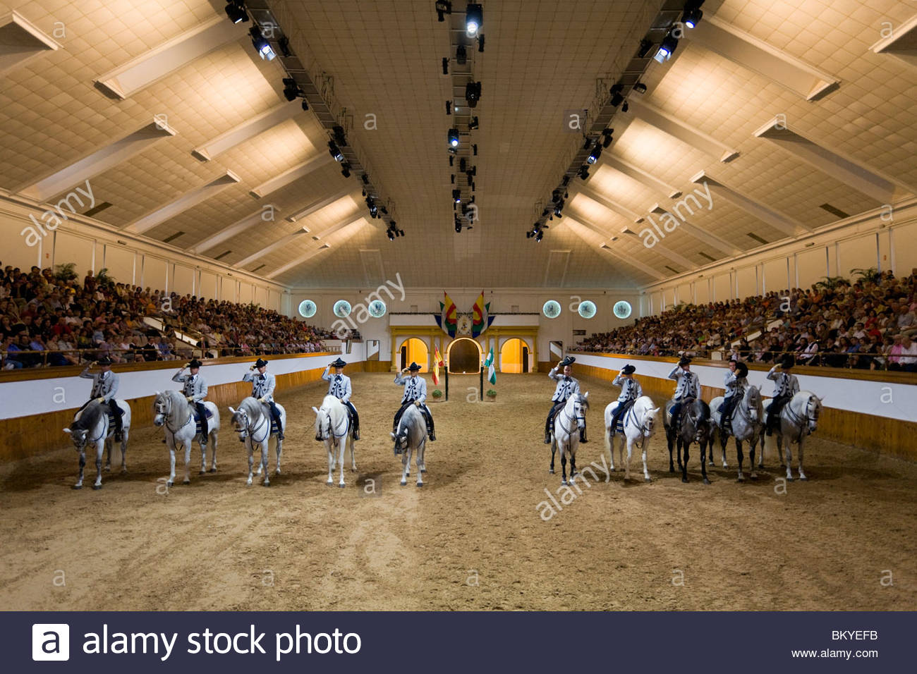 Königliche Hofreitschule in Jerez De La Frontera, Andalusien, Provinz Cadiz, Spanien Stockbild