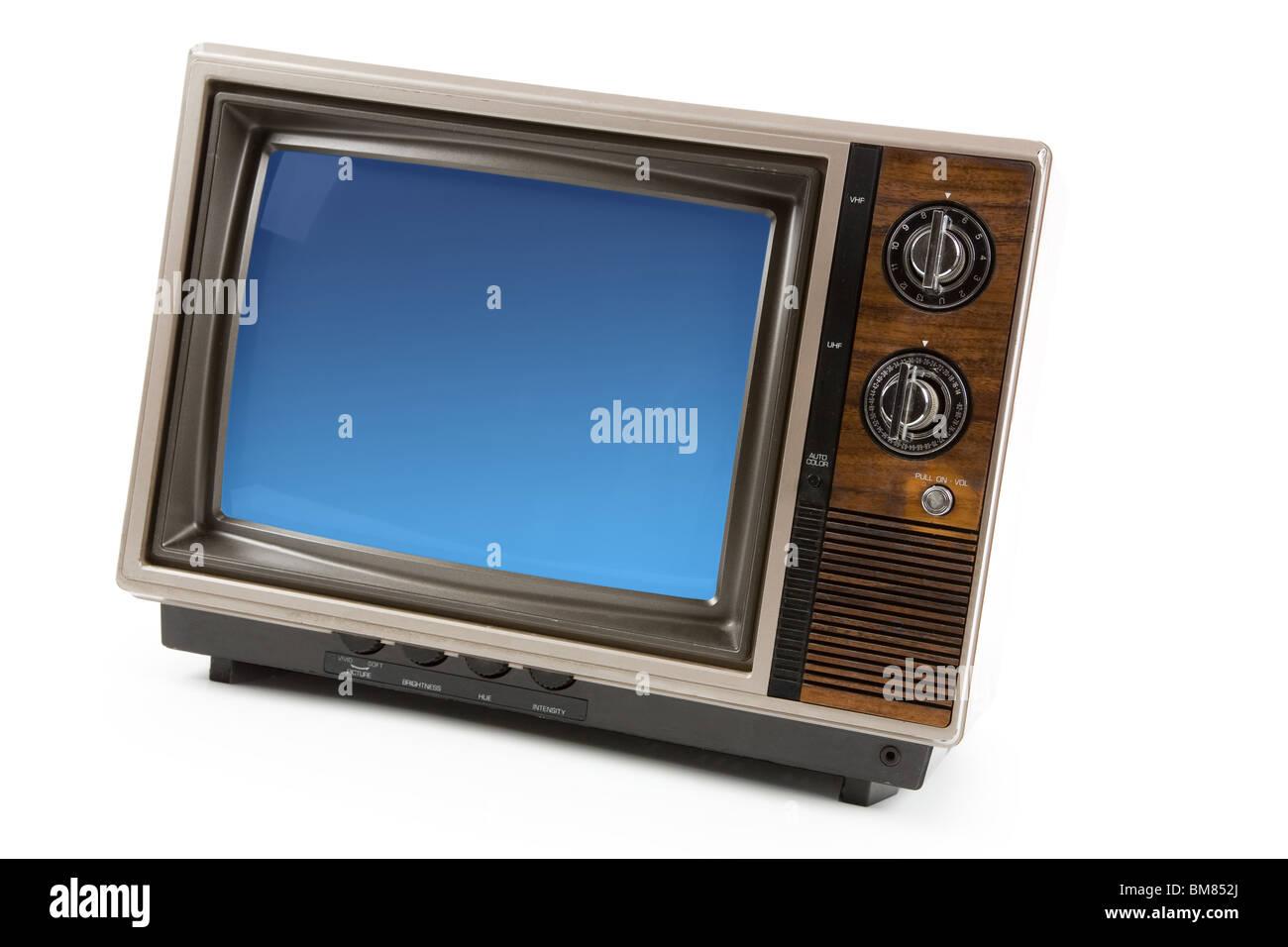 Altmodischer Fernseher mit weißem Hintergrund Stockbild