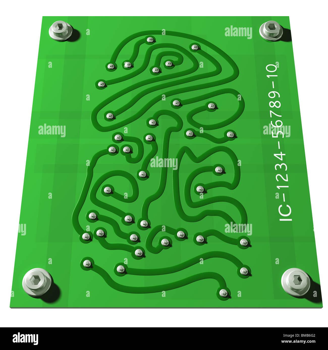 Elektronikplatine mit Verbindungen in Form eines Fingerabdrucks Stockbild