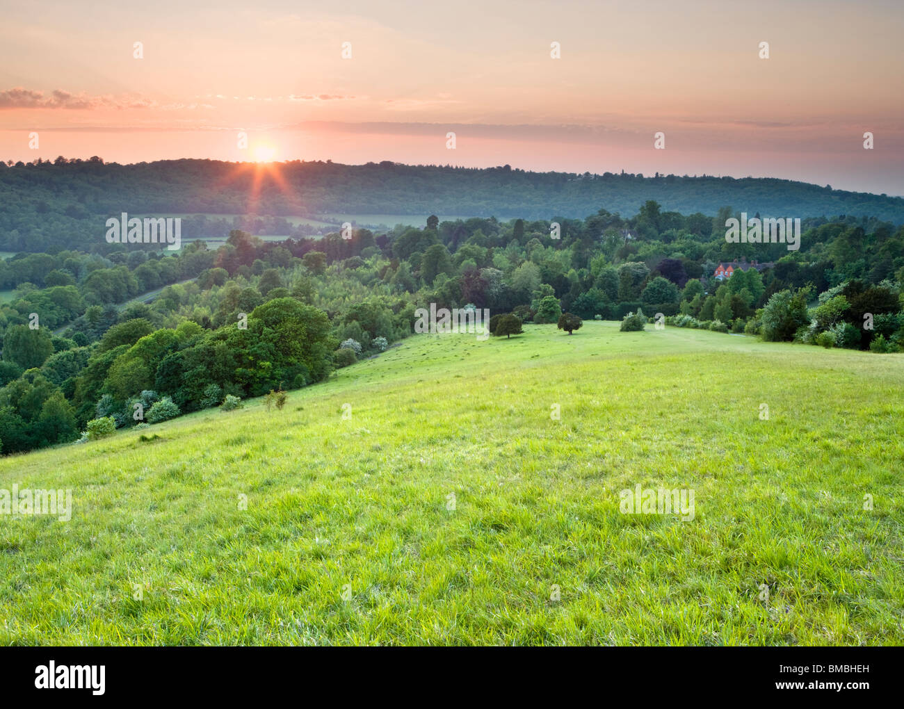 Sonnenuntergang am Box Hill, North Downs, Dorking, Surrey, UK Stockbild