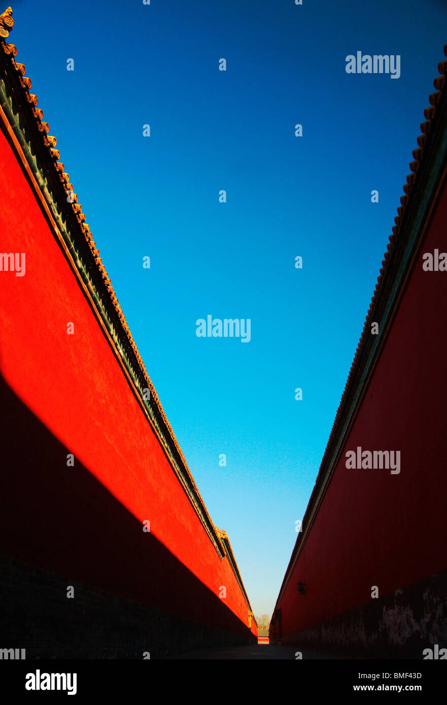 Rote Palast Mauer der verbotenen Stadt, Peking, China Stockbild