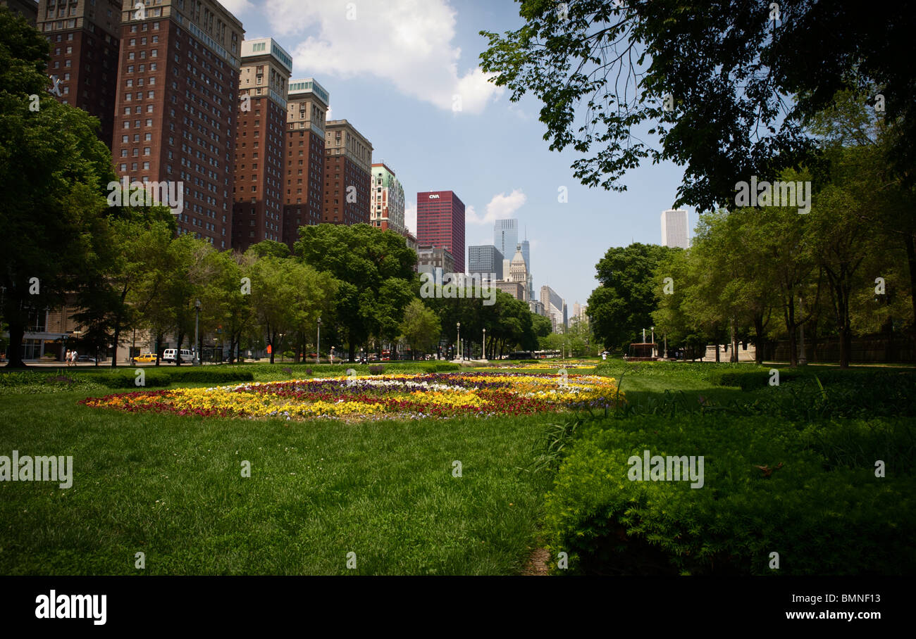 Michigan Ave Innenstadt von Chicago Stockbild