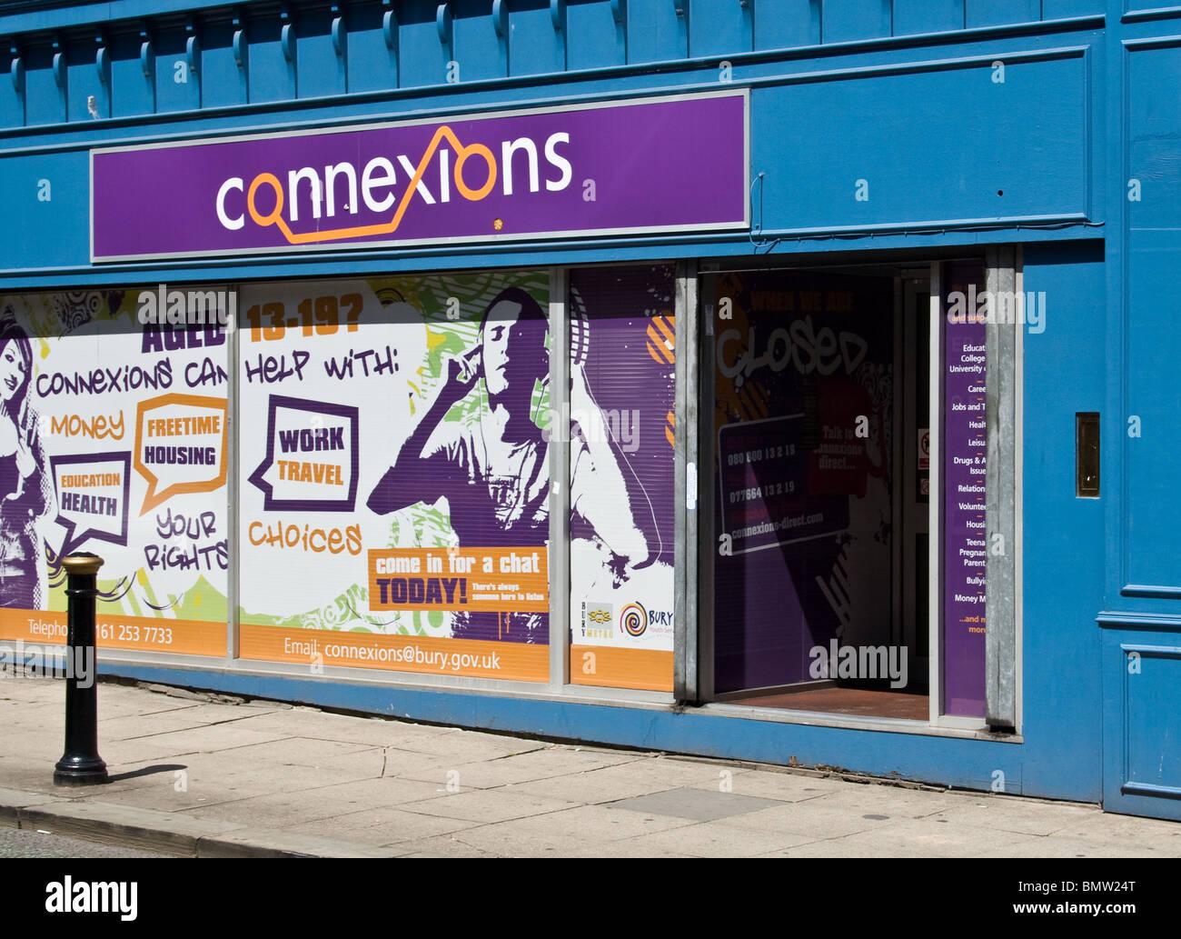 Connexions (Jugend-Betreuung), Stadtzentrum, Bury, größere Manchester, UK Stockbild