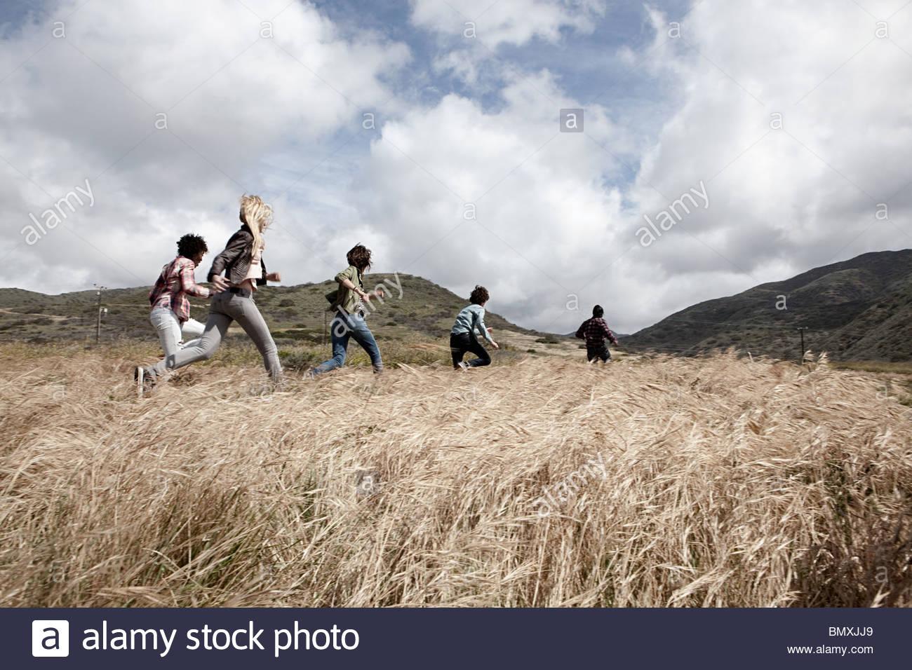 Gruppe junger Freunde in Feld Stockbild