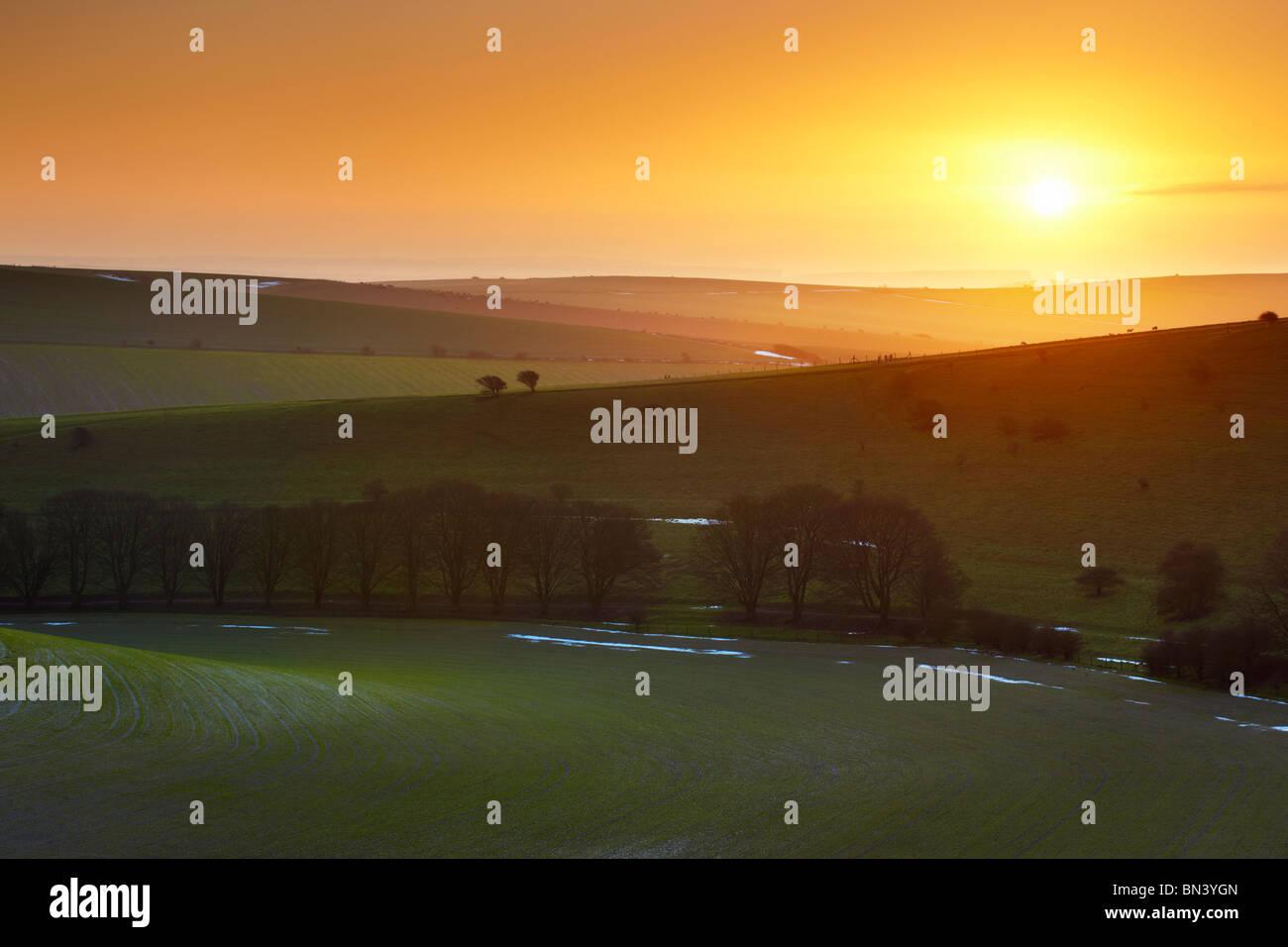 South Downs Sonnenaufgang in der Nähe von Standean unten. Der Rand der Felder herumliegen Schnee noch sichtbar. Stockbild