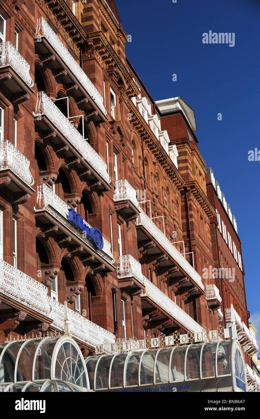 Die Vorderseite des Hilton Metropole Hotel in Brighton seafront Stockbild