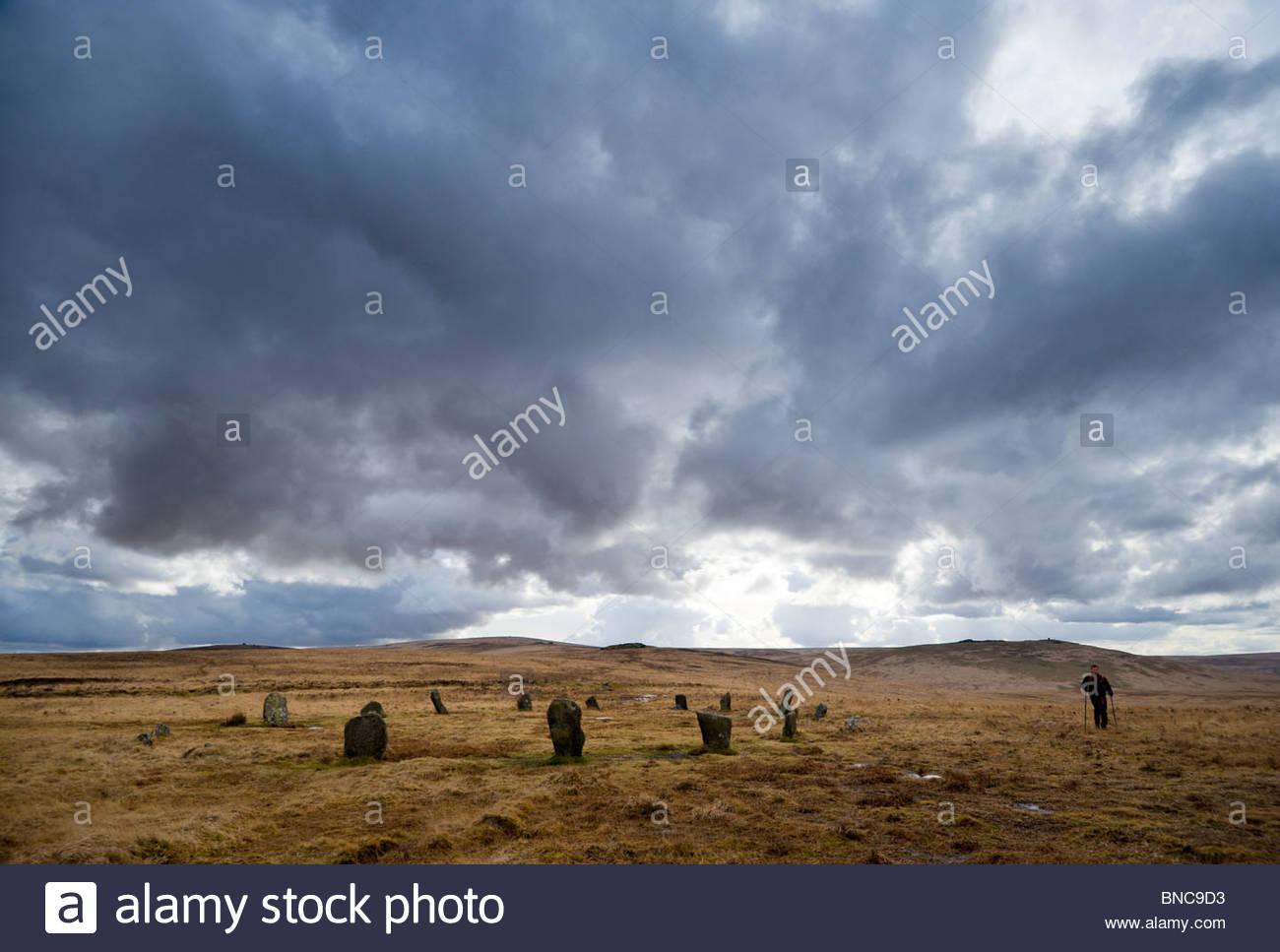 Der Steinkreis Vorbeigehen auf Cosdon Hill, North Dartmoor, Devon. Stockbild