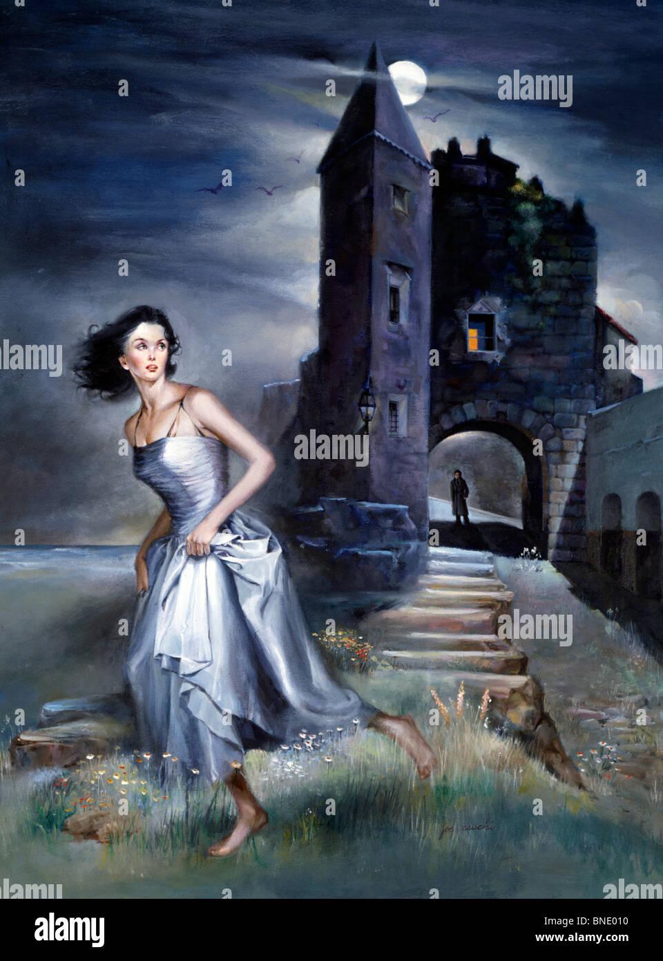 Frau rennt mit einem Schloss im Hintergrund Stockfoto