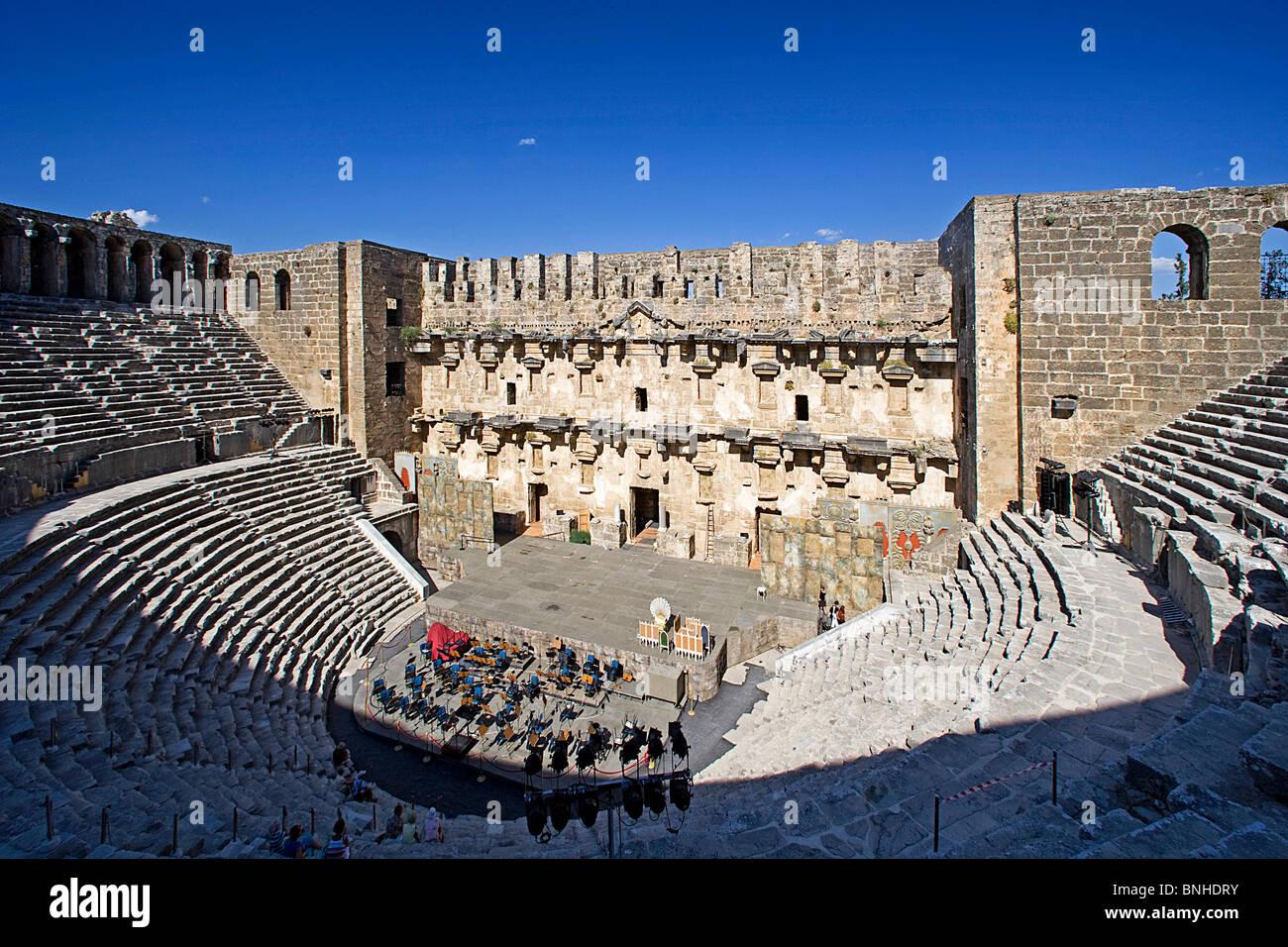 Türkei Juni 2008 antike Stätte antiken Stadt Aspendos Stadt historische Ruine Ruinen römischen Geschichte Stockbild