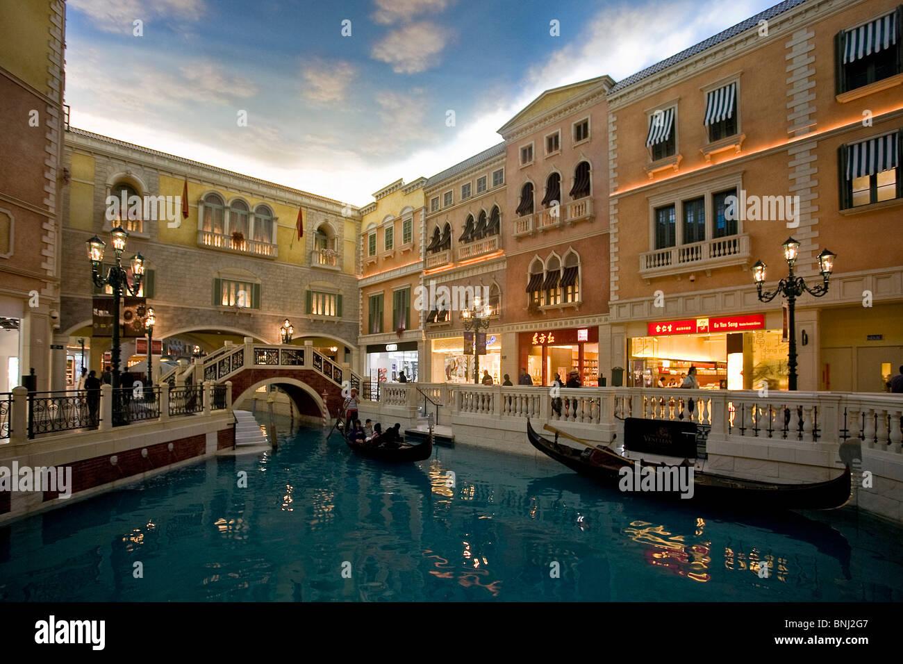 China Macao Macau Stadt Venetian Casino Casino Venedig Simulation Kanal Kanal Brücke Gondeln Stockbild