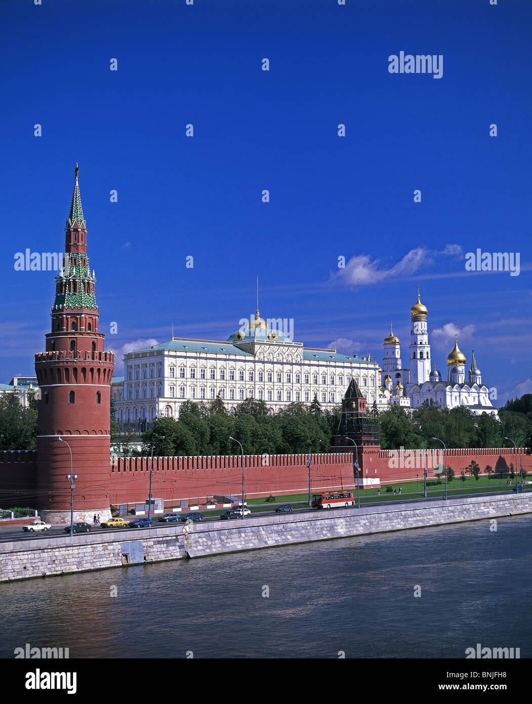 Sommer 2008 Russland Moskau Moskwa Fluss Kreml Stockbild