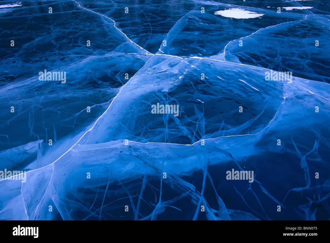Gestoßenem Eis Long Lake entlang Glenn Highway Yunan AK Winter Nahaufnahme Stockbild