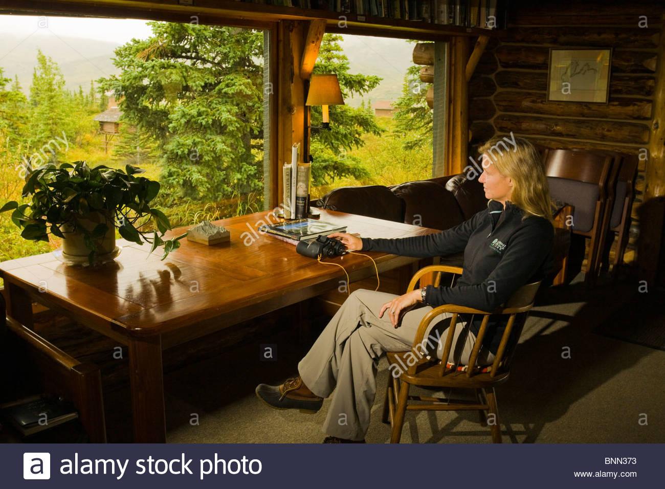 Gast entspannt in ihrer Kabine & genießt die Aussicht an Camp Denali Lodge, Denali-Nationalpark, Alaska Stockbild