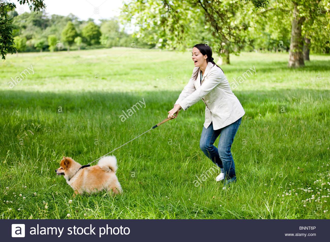 Eine junge Frau mit ihrem Hund entlang gezogen wird Stockbild