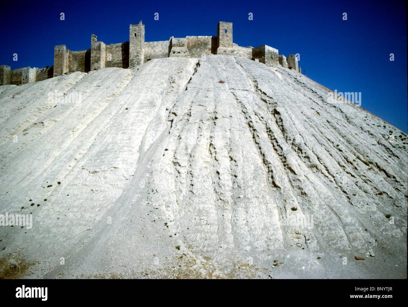 Blick auf die alte Zitadelle in Aleppo, Syrien Stockbild