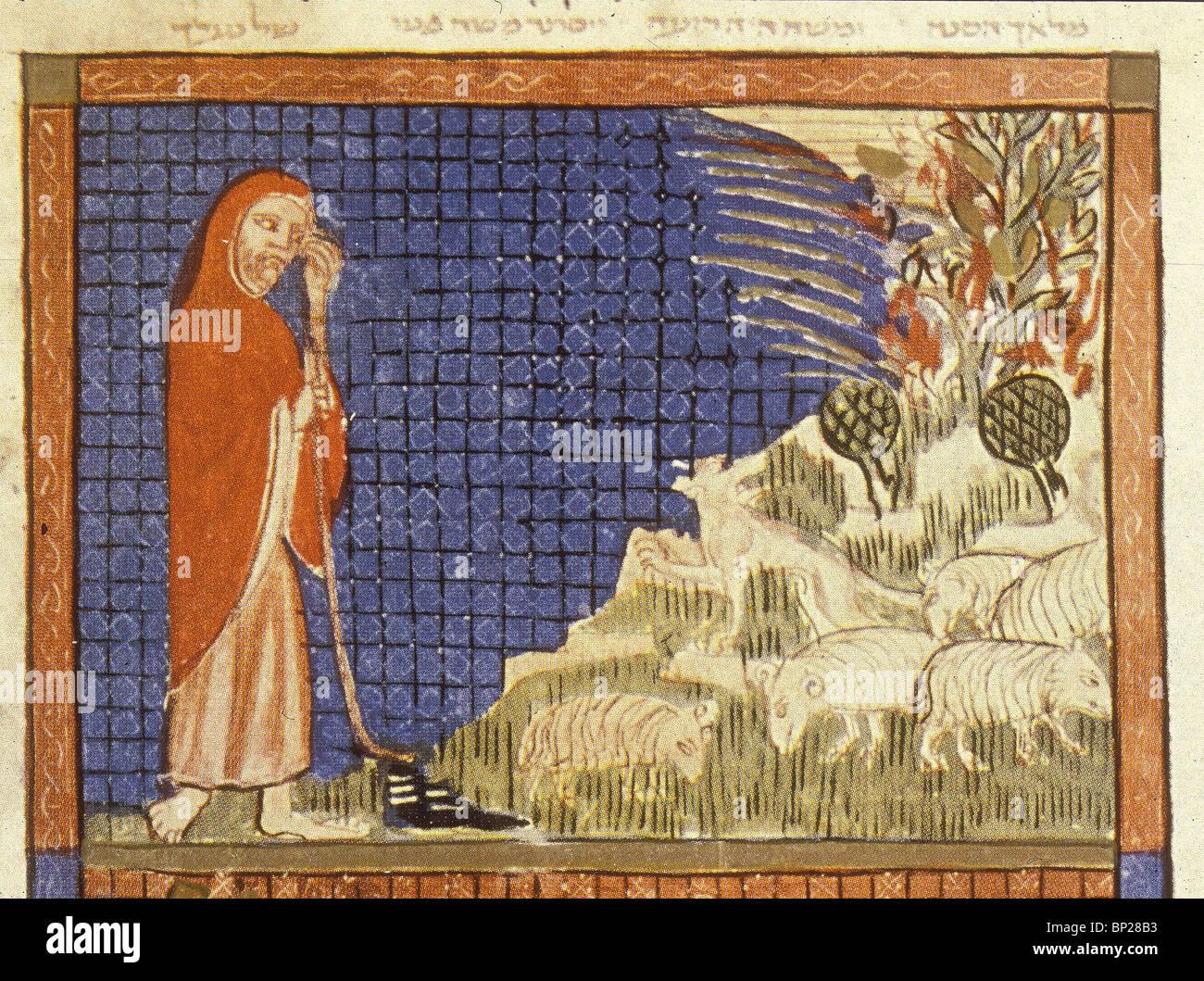2008. MOSES VOR DEM BRENNENDEN DORNBUSCH-ILLUSTRATION AUS DEM SARAJEVO HAGGADA, EIN 14. C. HEBRÄISCHES MANUSKRIPT Stockbild