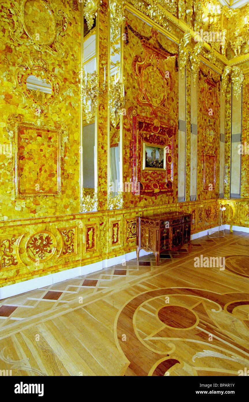 Die legendäre Amber Room im Museo Tsarsoye Selo wird restauriert. Stockbild