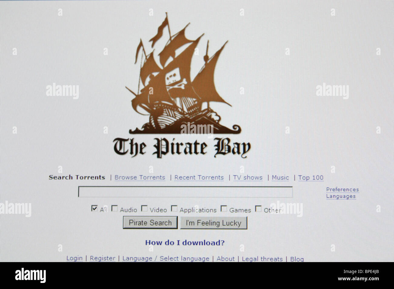 Theprivatebay Musik Filme Spielesoftware herunterladen Stockbild