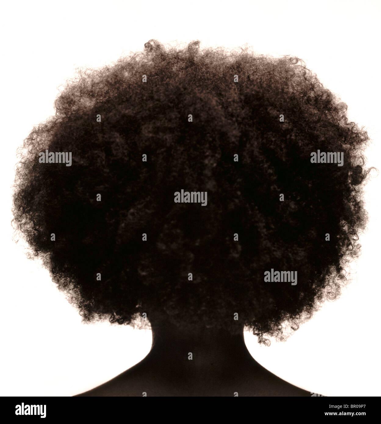 Silhouette der afroamerikanischen Womans Kopf mit krauses Haar. Stockbild