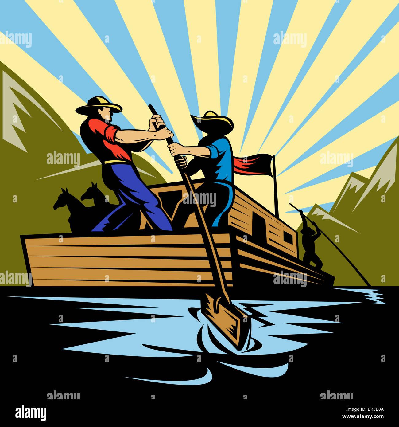 Abbildung eines Cowboy-Mannes Lenkung Flachboot Fluss entlang Stockfoto