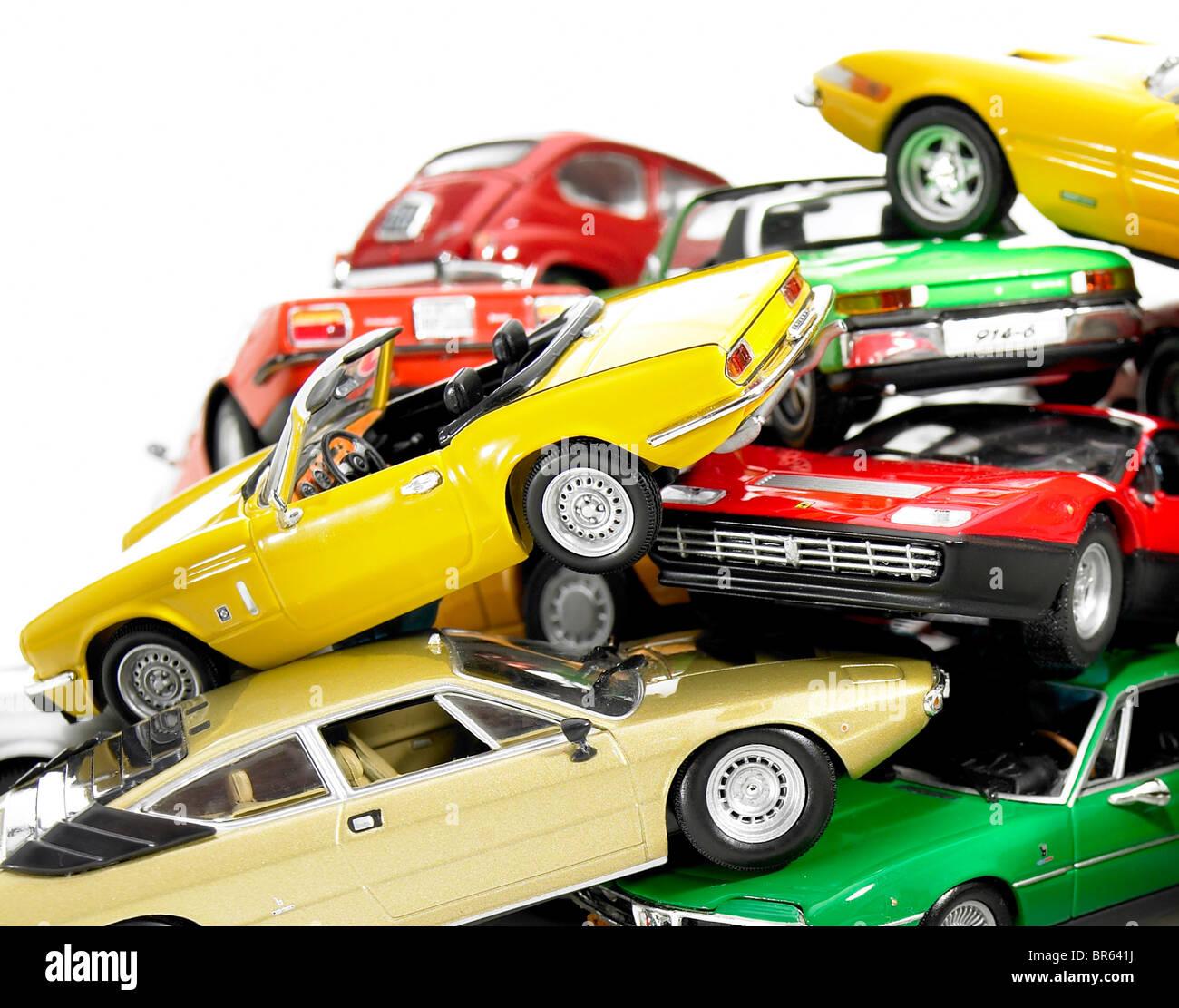 großaufnahme, Haufen von Miniatur-Modellen. Stockbild