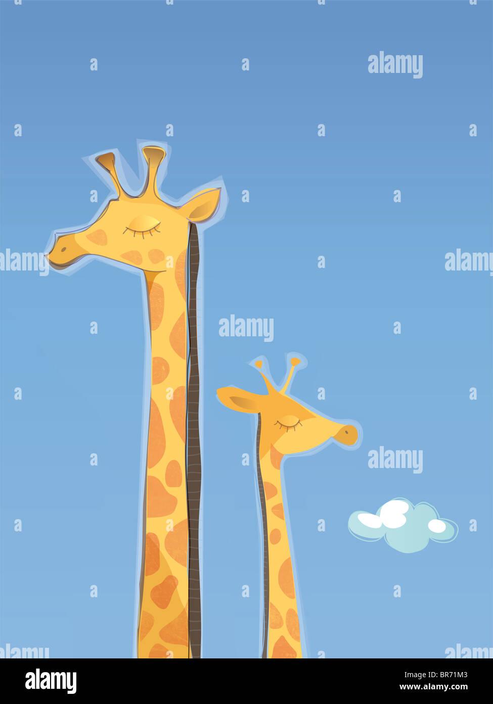 Eine Abbildung einer Giraffe Mutter und Kind Stockfoto