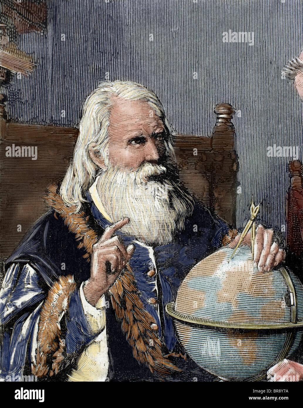 Galileo Galilei (1564-1642). Italienischer Mathematiker, Physiker und Astronom. Galileo zeigt seine astronomische Stockfoto