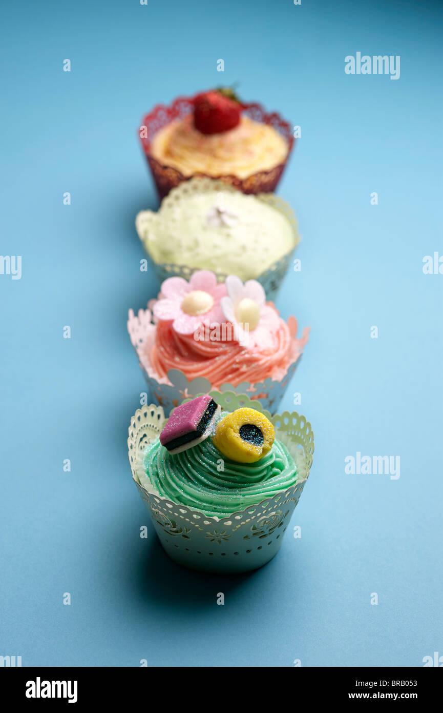 Vier Cupcakes Stockbild