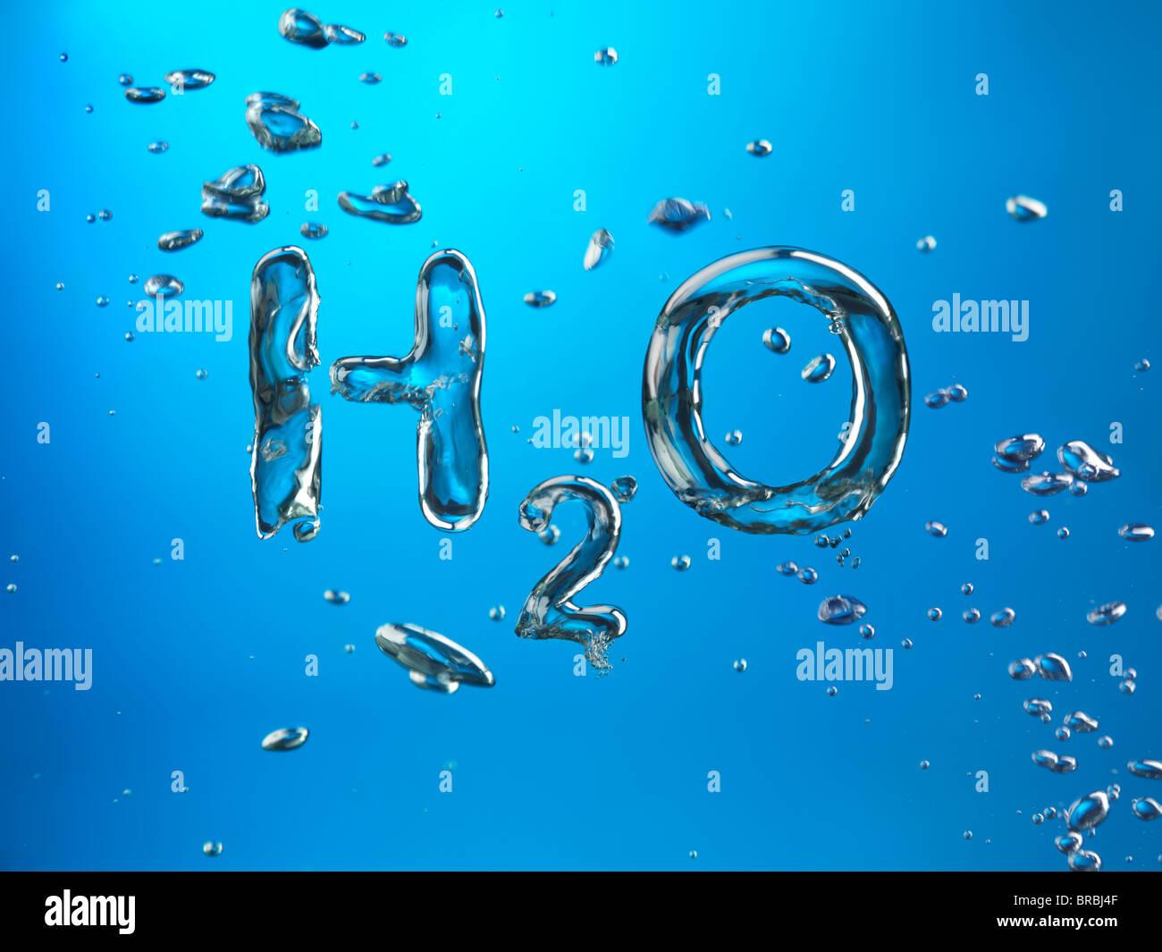 Formel des Wasser H2O von Sauerstoffbläschen, Konzeptbild gemacht. Stockbild