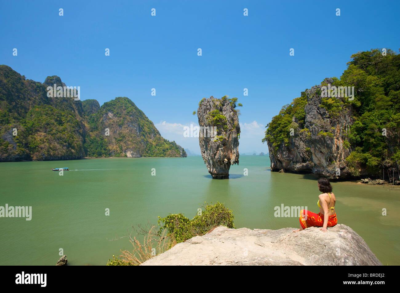 James Bond Insel, Phang Nga Bay Nationalpark, Phuket, Thailand Stockbild