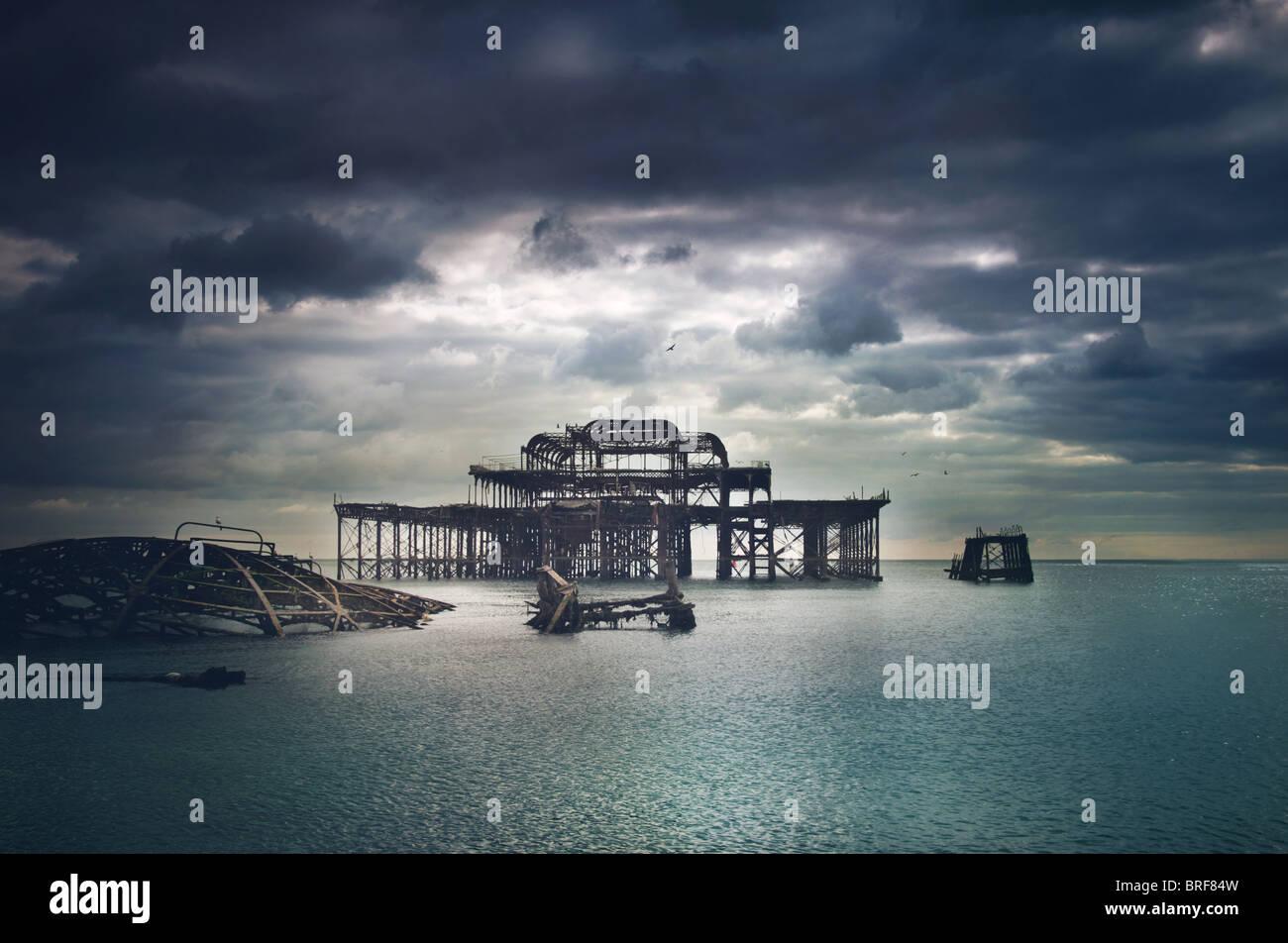 alten Brighton Pier, UK Stockbild