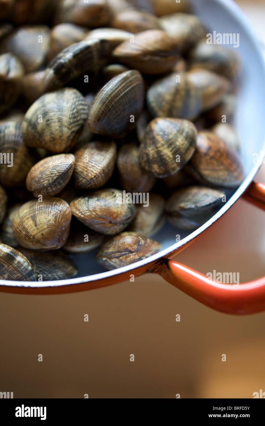 Herzmuscheln in eine Pfanne, Restaurant St Clements, st.leonards am Meer, East Sussex. Stockbild