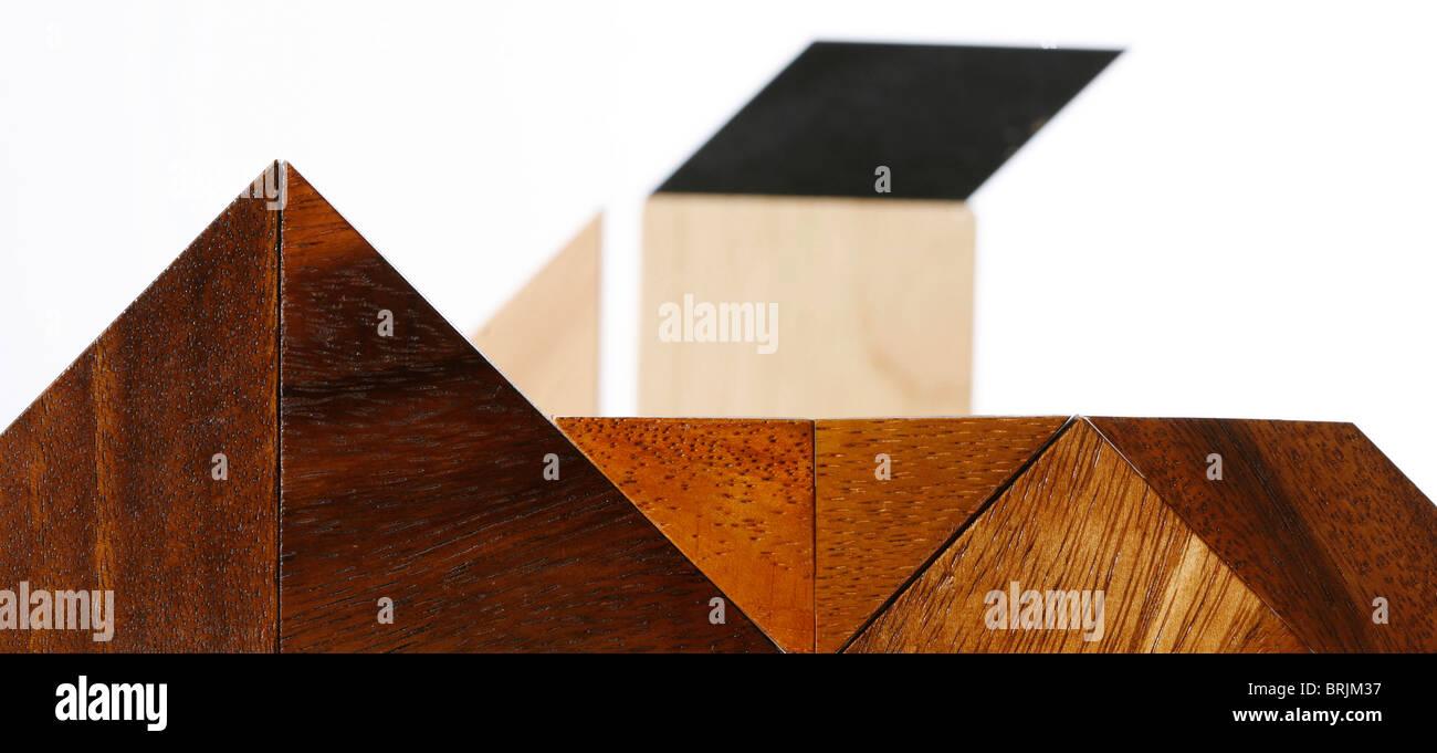 Geometrische Formen aus Holz Stockbild