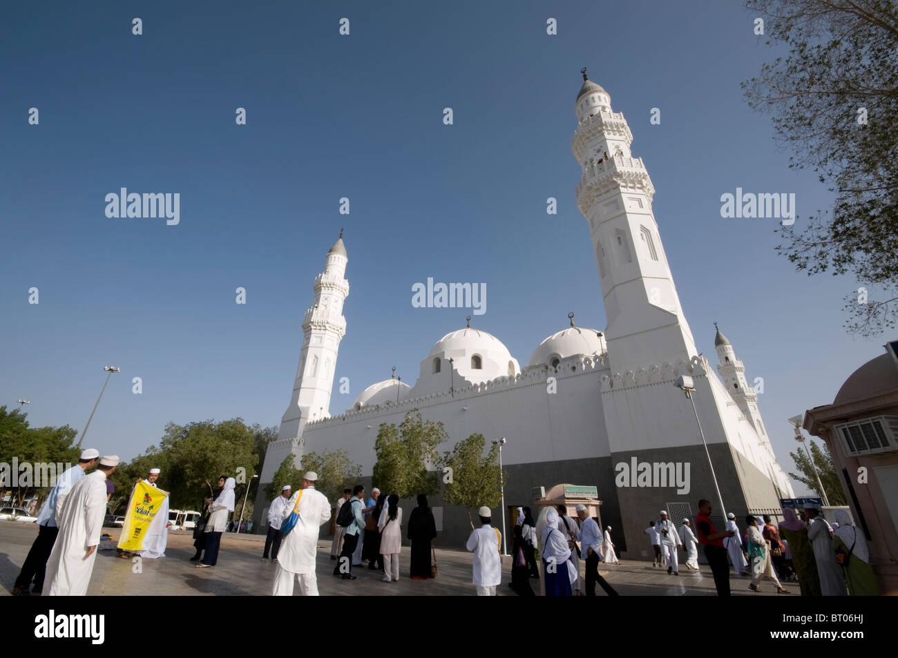 Muslime auf dem Gelände der Moschee Quba 21. April 2010 in Medina, Saudi-Arabien. Stockbild